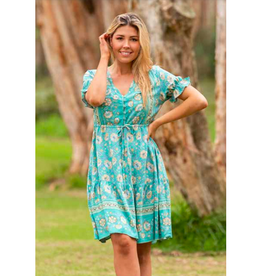 Boho Australia Silva Tier Dress in Green