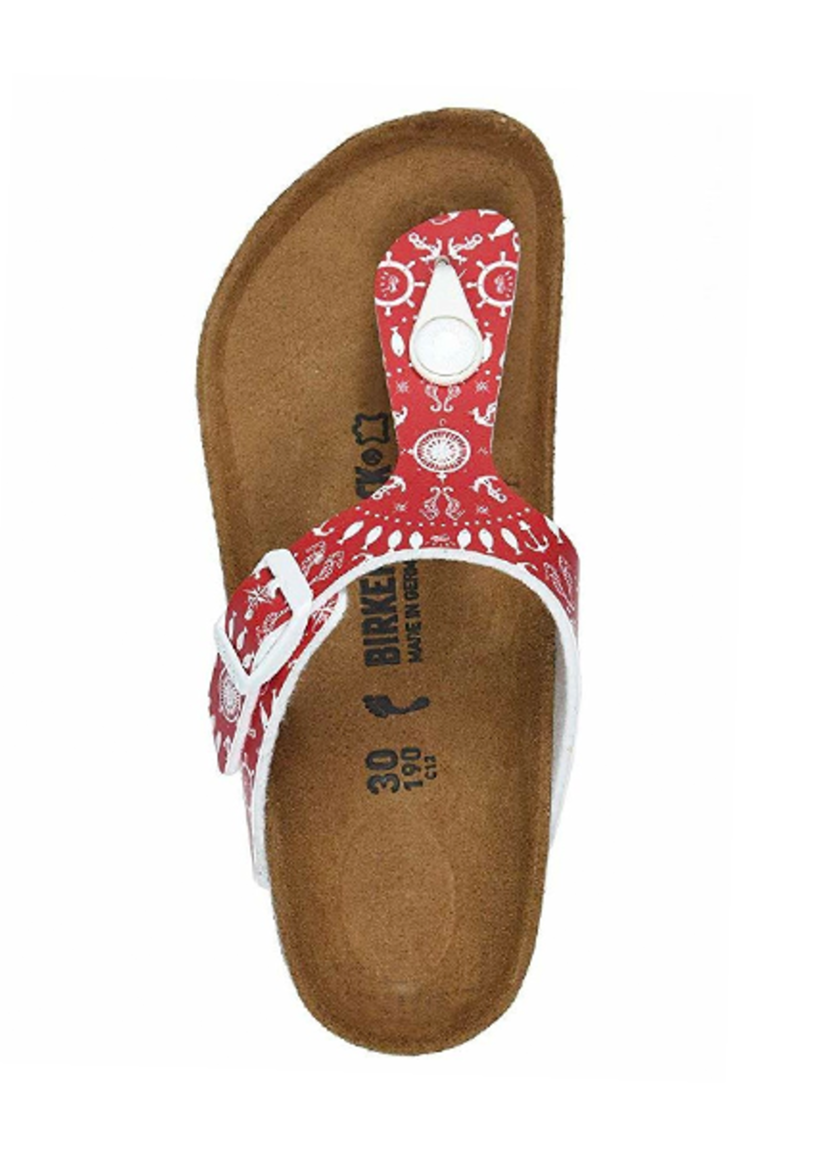 Birkenstock Gizeh Kids - Birko-Flor in Nautical Print Red (Classic Footbed - Suede Lined)