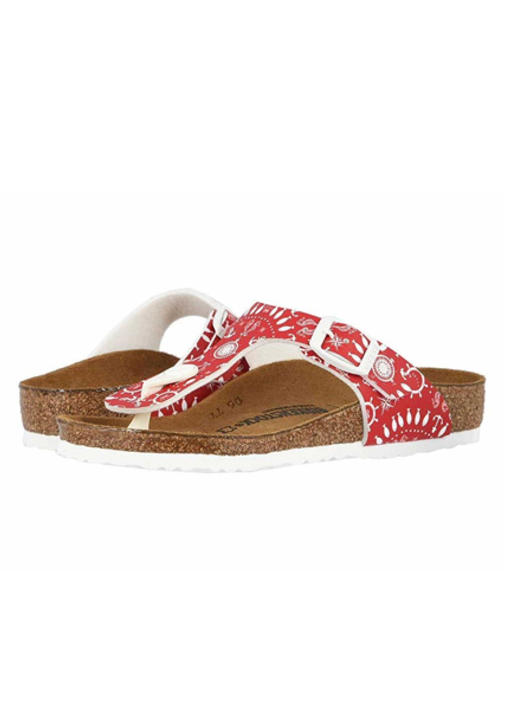 Birkenstock Gizeh -  Birko-Flor in Nautical Print Red (Classic Footbed - Suede Lined)