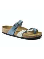 Birkenstock Mayari - Natural Leather in Dove Blue Mineral   (Classic Footbed - Suede Lined)