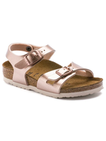 Birkenstock Rio Kids - Birko-Flor in Electri Metallic Copper (Classic Footbed - Suede Lined)