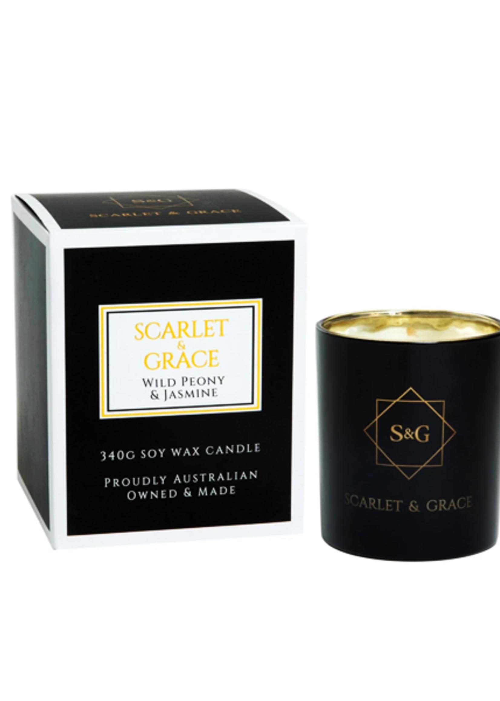Scarlet & Grace 340g Soy Wax Candle - Wild Peony & Jasmine