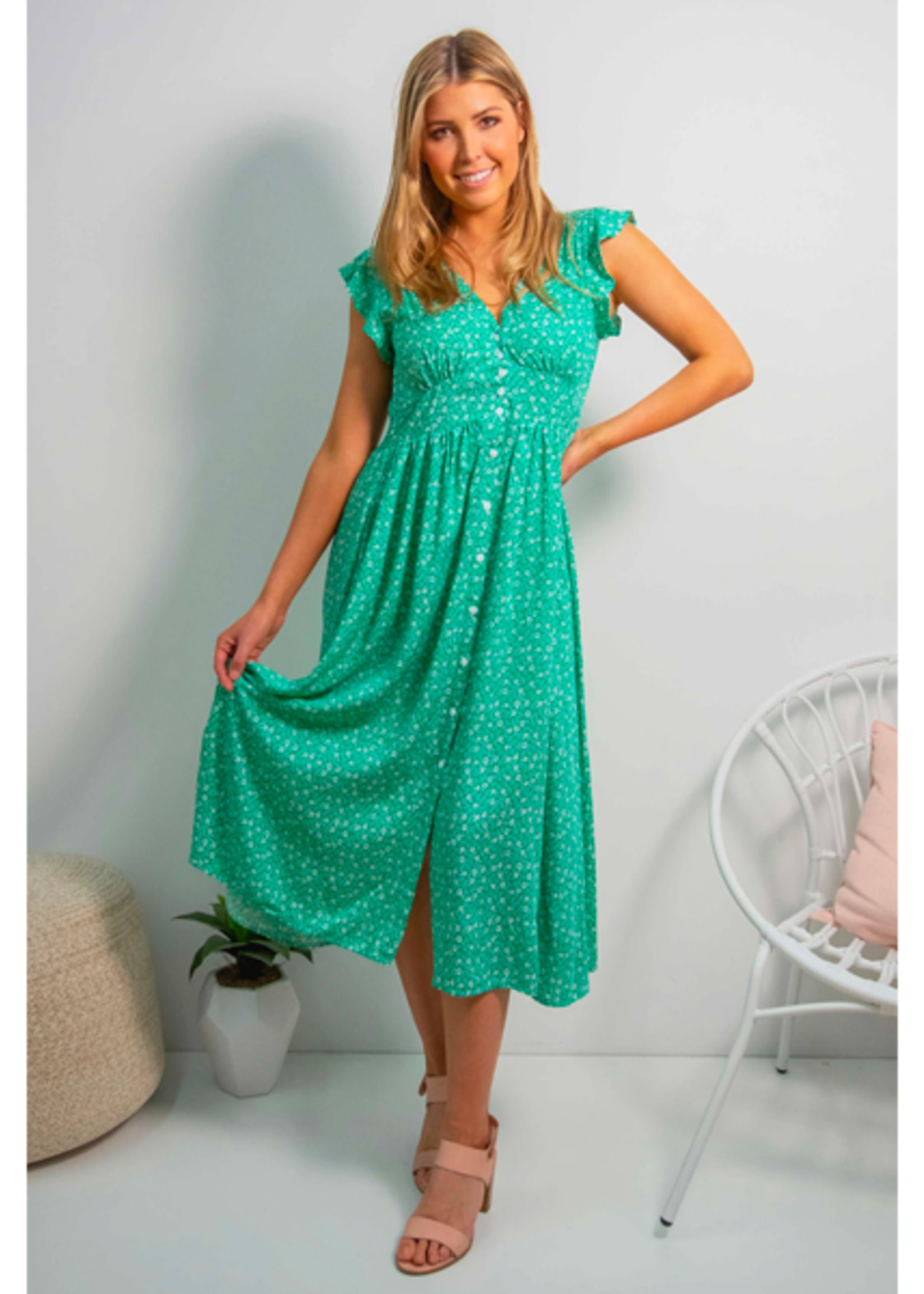 Boho Australia Aspra Midi Dress in Green
