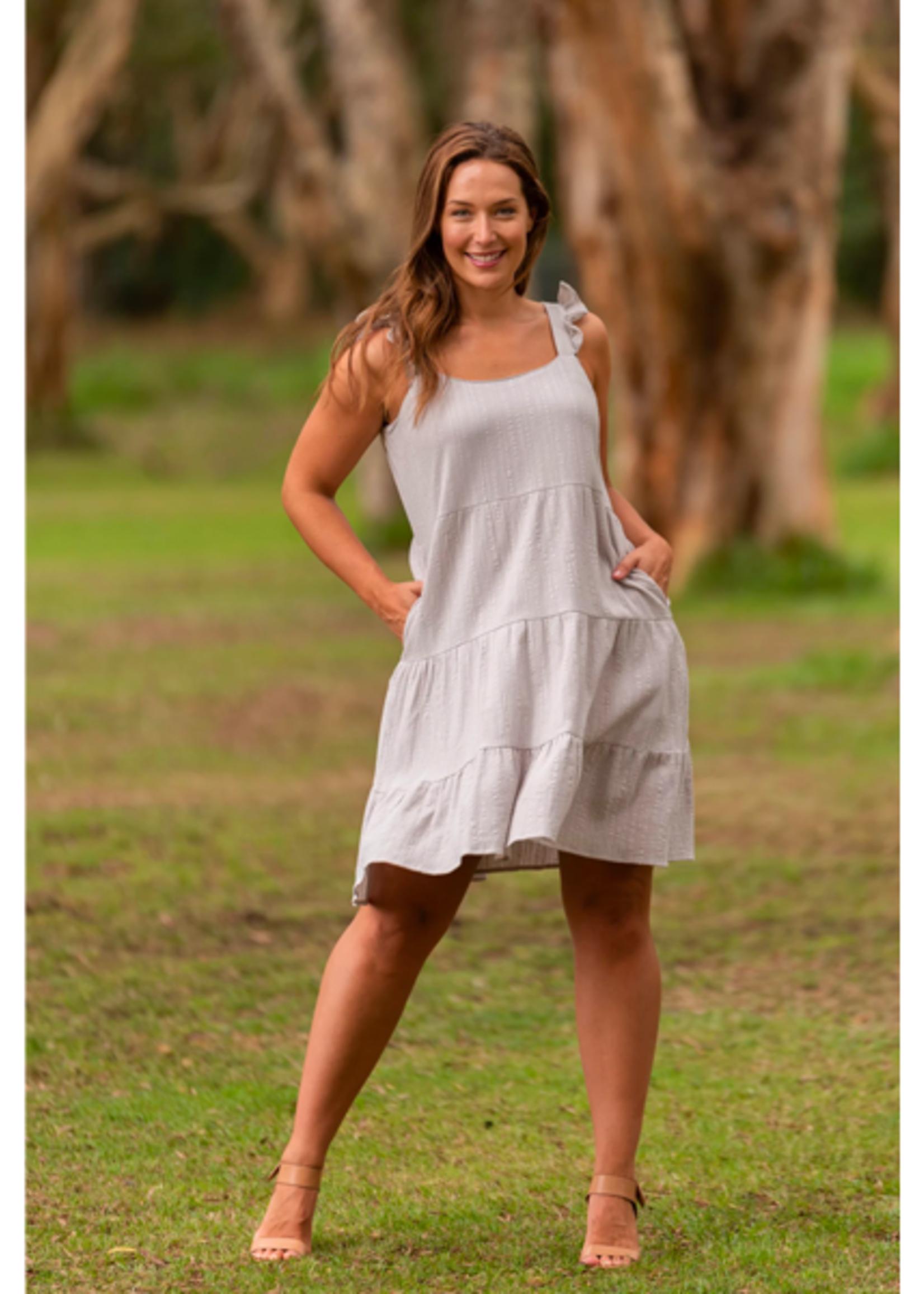 Boho Australia Vera Tier Dress in Stone
