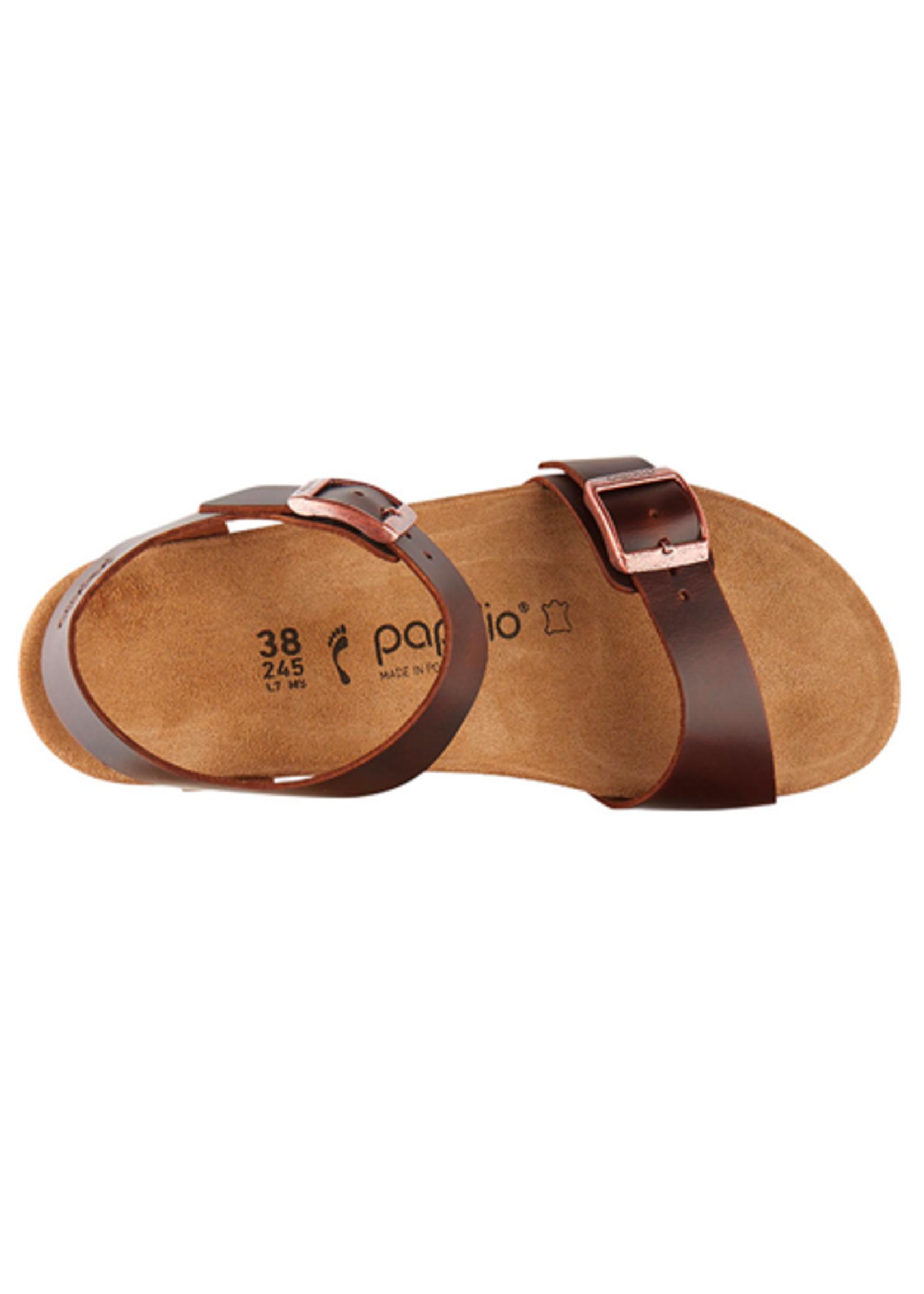 Birkenstock Soley - Natural Leather in Cognac (Papillio Wedge Heel -Suede Lined)