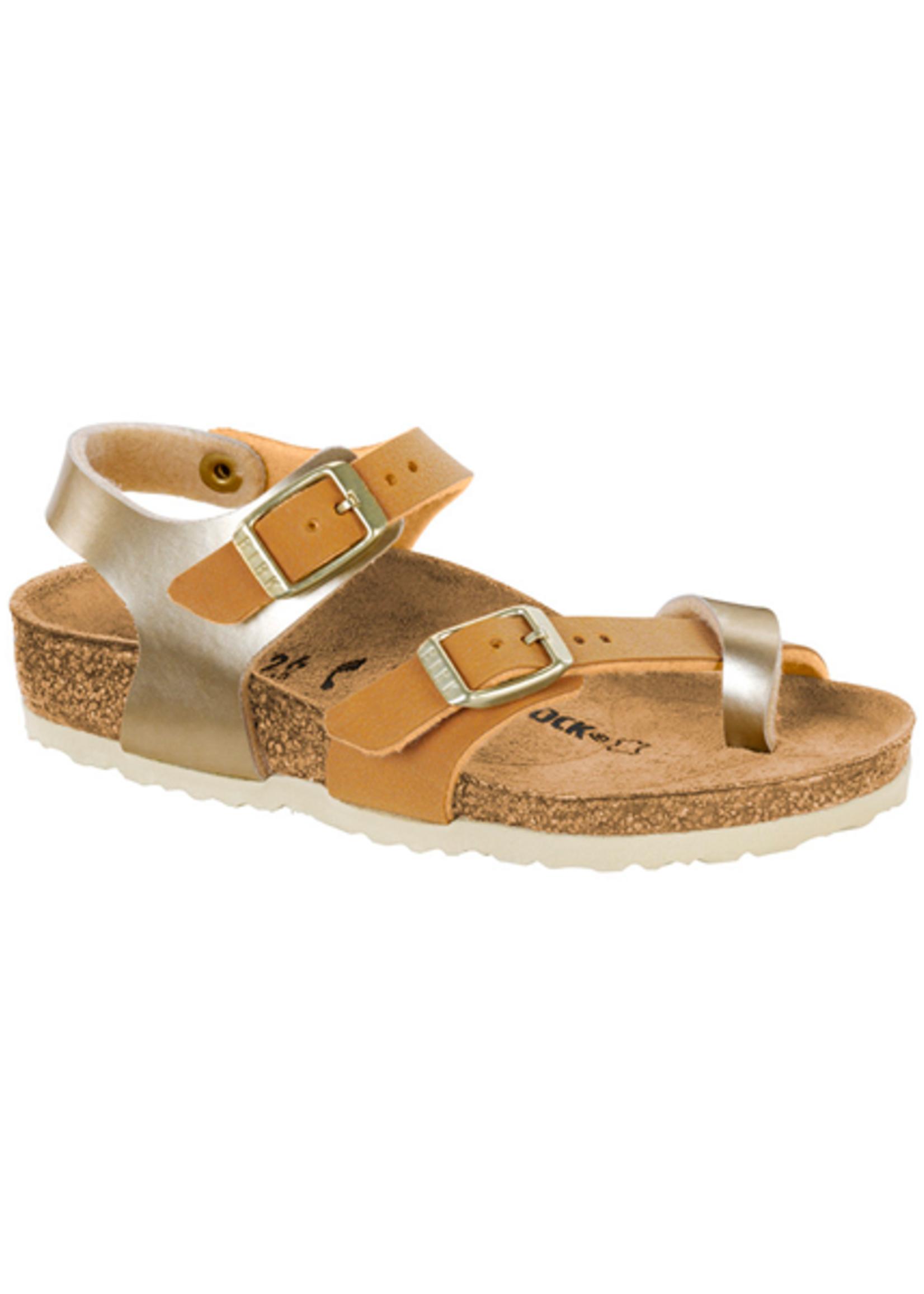 Birkenstock Taormina Kids - Birko-Flor in Soft Metallic Gold Brown (Classic Footbed - Suede Lined)