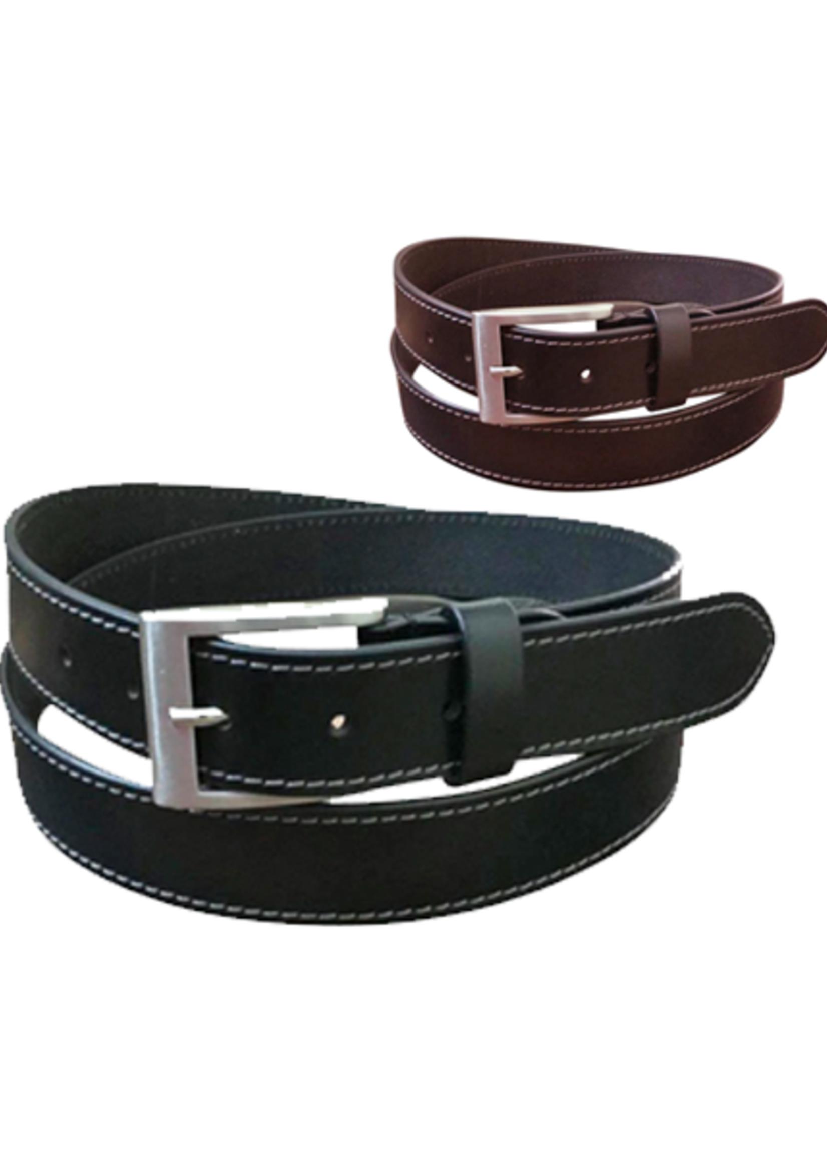 Jacaru Stitched Leather Belt 6014
