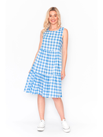 DW76E New Gingham Dress in Chambray