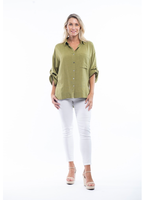 Orientique Essential Blouse Linen Fold Sleeve in Olive Oil