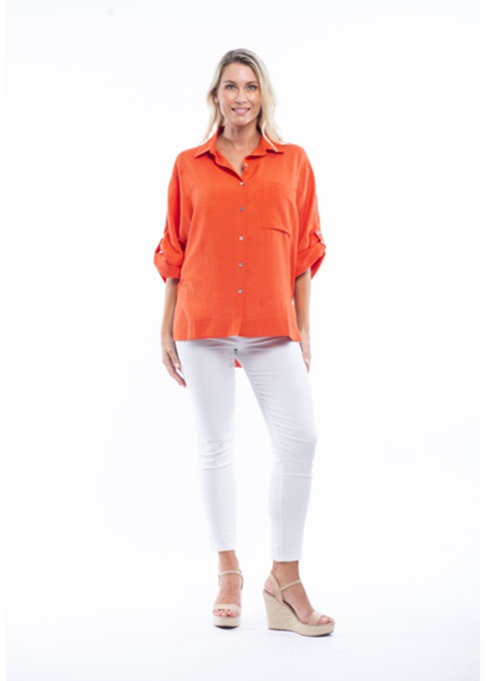 Orientique Essential Blouse Linen Fold Sleeve in Red Glow