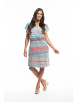 Orientique Vieux Port Shift Sleeve Dress in Blue/Red