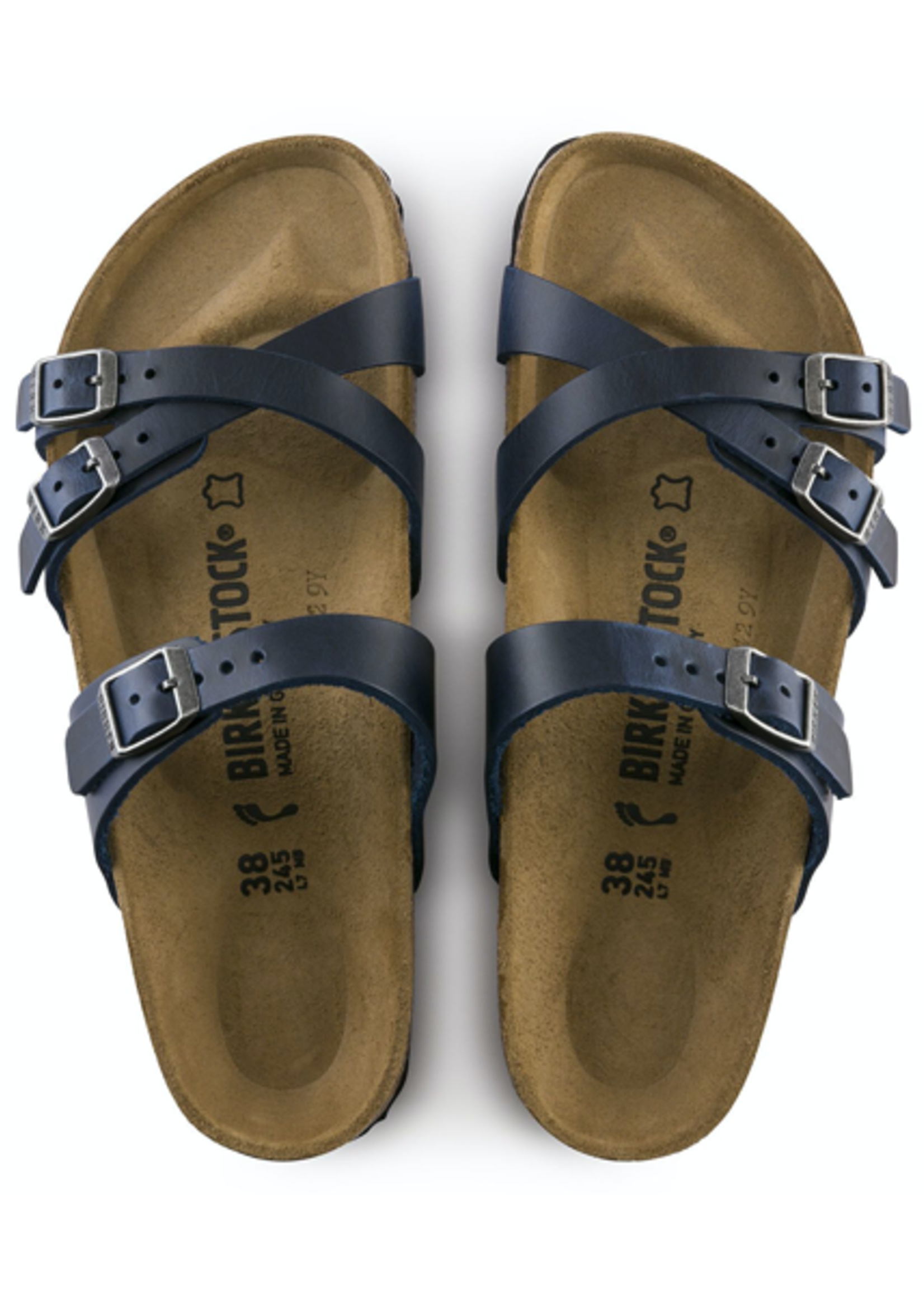 Birkenstock Franca Oiled Leather in Blue (Classic Footbed - Suede Lined)
