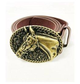 Gold Horse Head Belt Buckle