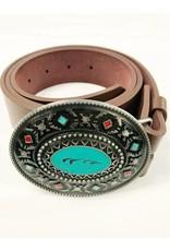 Aztec Belt Turquoise & Red Belt Buckle