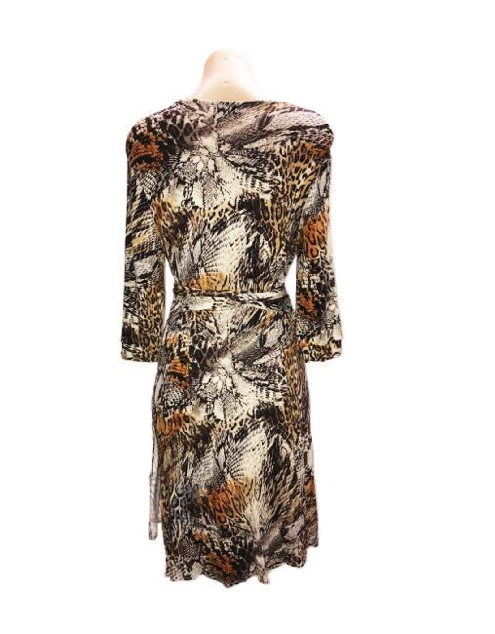 Anaconda Wrap Dress in Brown