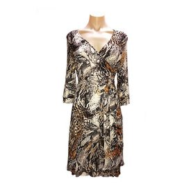Anaconda Wrap Dress in Brown