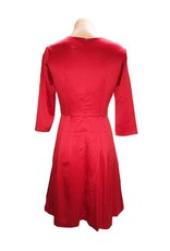 Mabel Bow Dress Plain in Red