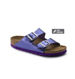 Birkenstock Arizona - Natural Metallic Leather in Violet (Soft Footbed)