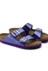 Birkenstock Arizona - Natural Metallic Leather in Violet (Soft Footbed)