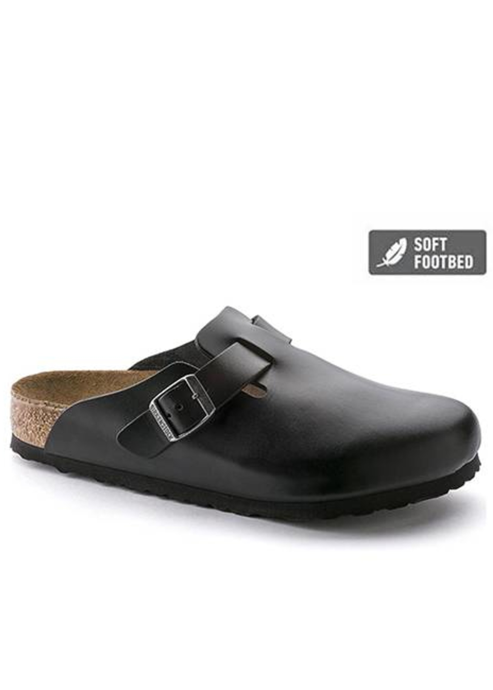 Birkenstock Boston - Smooth Leather in Black (Soft Footbed)