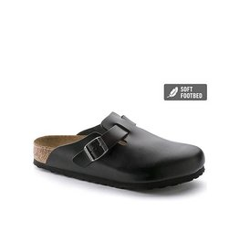 Birkenstock Boston - SFB - Smooth Leather in Black (Soft Footbed)