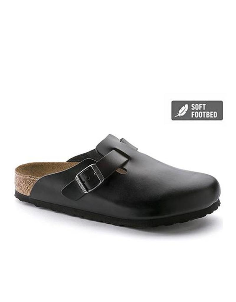 Birkenstock Boston Smooth Leather in Black (Soft Footbed)
