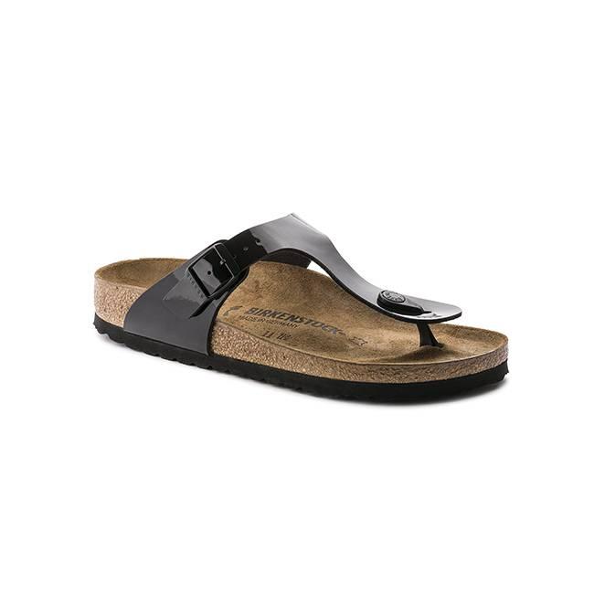 Birkenstock Gizeh Birko Flor Black Patent Sandals Shop
