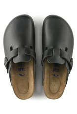 Birkenstock Boston - Smooth Leather in Black (Classic Footbed - Suede Lined)