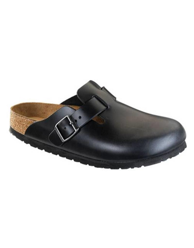 8994bbc921 Birkenstock Boston Leather Black Supergrip Clogs Regular Fit - Fe s ...