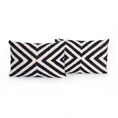 """Navy """"X"""" Lumbar Pillow - 16x24"""