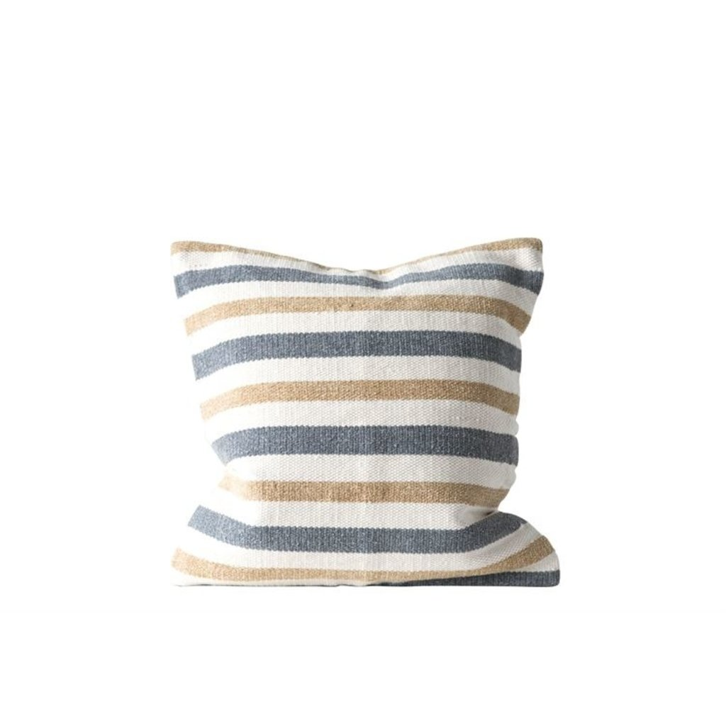 "20"" Cotton Striped Pillow - Grey/Sand"