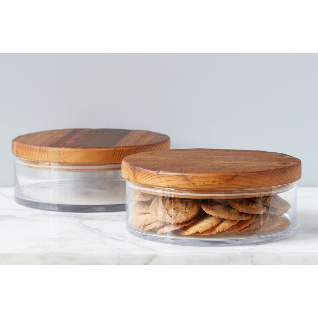 Slate Natural Wood Top Canister