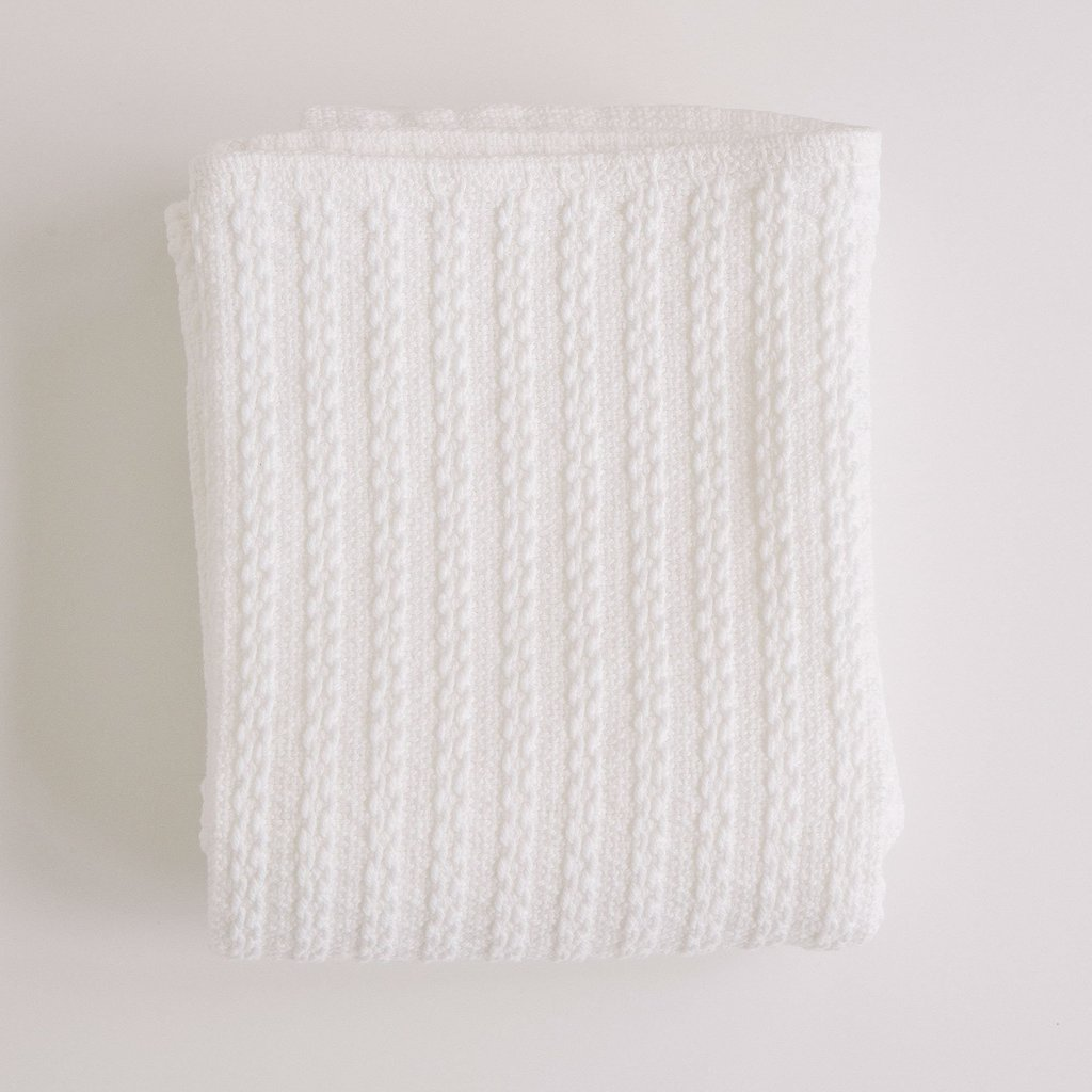 Cable Knit Baby Blanket Slate