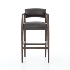 Oak Bar Stool with Ebony Leather Upholstery