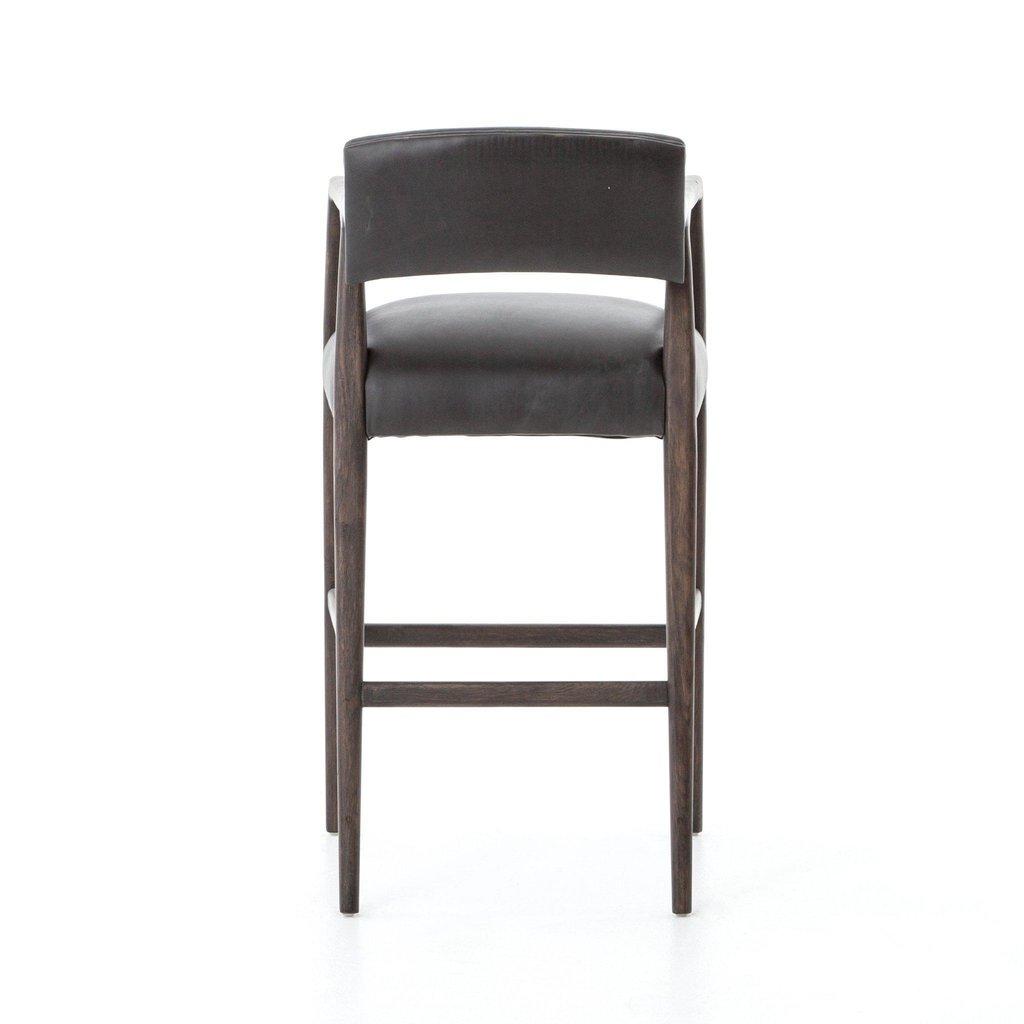 Oak Bar Stool with Ebony Leather Upholstery