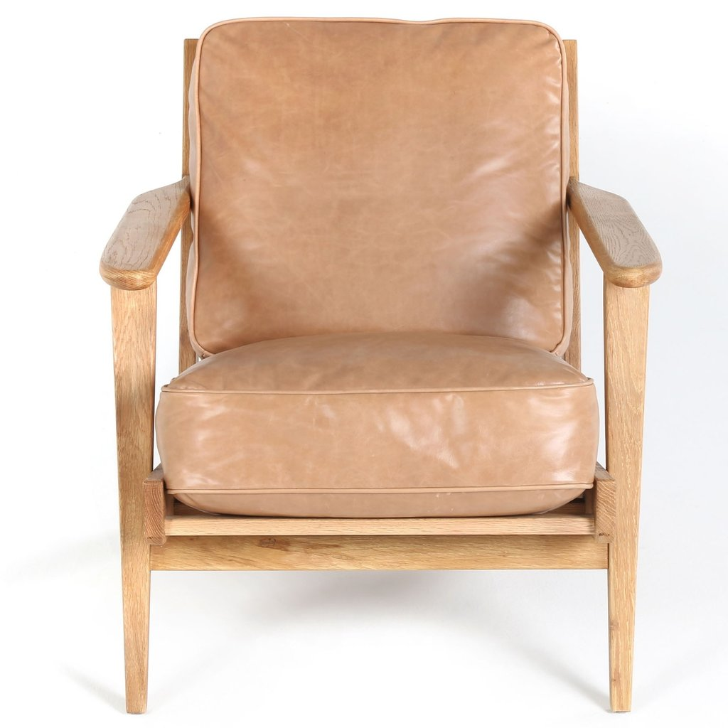 Slate Camel Leather Lounge Chair
