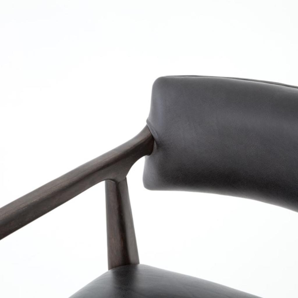 Oak Counter Stool with Ebony Leather
