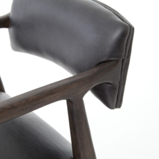 Oak Counter Stool with Ebony Leather Upholstery
