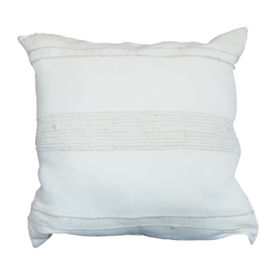 """24"""" Creme PIllow with Wool Details"""