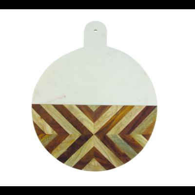 White Marble & Wood Mosaic Round Board XL