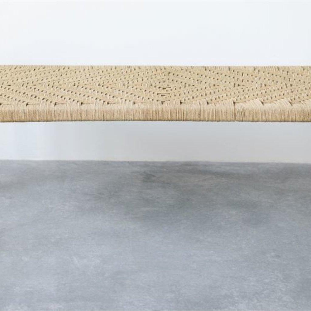Slate Mango Wood and Woven Bench