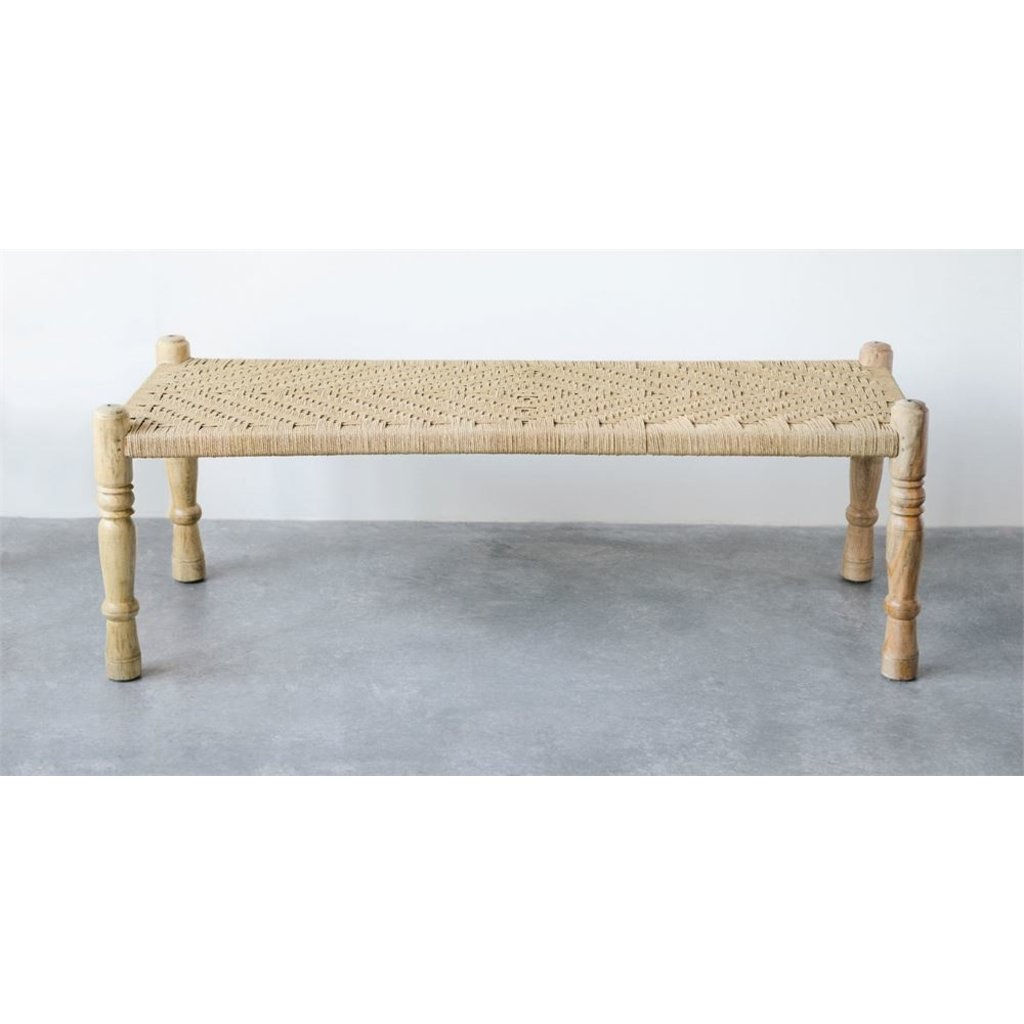 Slate Mango Wood and Woven Bench
