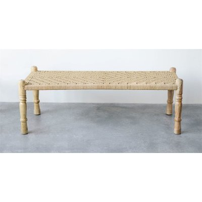 Mango Wood and Woven Bench