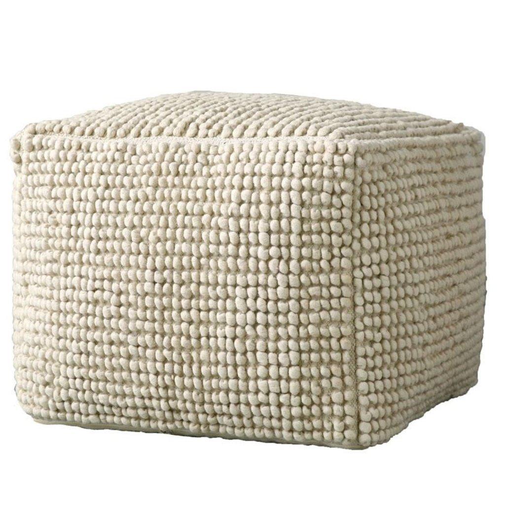 Natural Wool/Cotton blend Pouf