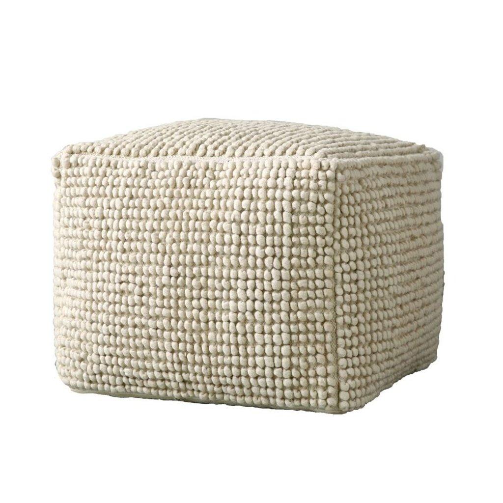 Slate Natural Wool/Cotton blend Pouf