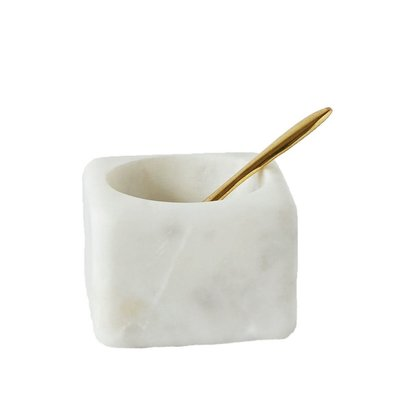 Marble Square Salt Bowl with Brass Spoon