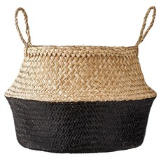 Slate Seagrass Basket : Natural & Black w/ Handles