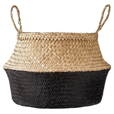 Slate Seagrass Basket: Natural & Black w/ Handles