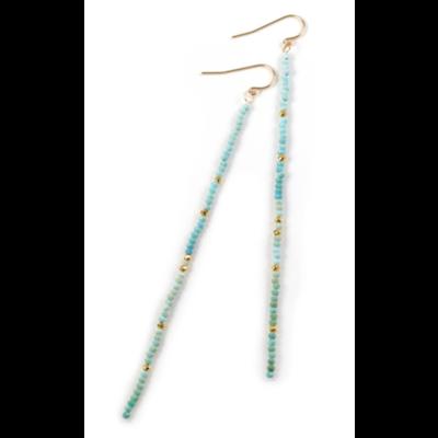 Mickey Lynn Turquoise Duster Earrings w Gold Pyrite