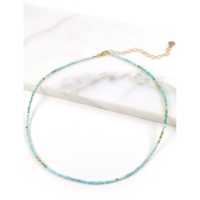 Mickey Lynn Micro-faceted Turquoise Necklace w Gold Pyrite